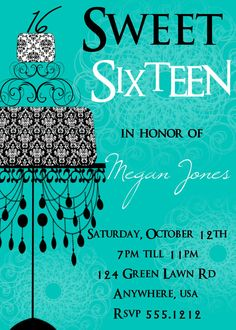 Sweet 16 Birthday Invitation, Sweet Sixteen Invitation on Etsy, $15.00