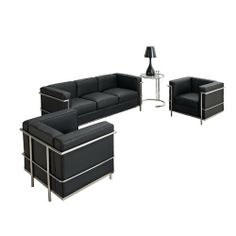 LexMod Leather Le Corbusier-Style LC2 2-Armchair and Sofa in Black with Eileen Gray Side Table by LexMod. $2134.98. Stainless steel frame and adjustable height. Table: chrome frame. Tempered glass. Multi-density foam cushions. Chair and sofa: genuine leather upholstery. The Le Corbusier LC2 represents uncompromised quality with affordability you won't find anywhere else. Each piece is made to preserve the specifications of the original using modern day manufacturing ...