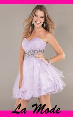 Fancy Ruched Bodice A-line Strapless High-Low Prom/cocktail/homecoming Dress via La Mode. Click on the image to see more!