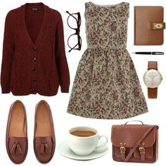 """""""coffee and book"""" kind of days. really love this bag. I would wear ALL of this to work."""