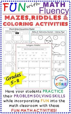 Have your students apply their understanding of grade math, grade math, grade math and grade math with these fun math activities including math mazes, math riddles and math coloring activities. Middle School Math Common Core Ratios and Pro Color Activities, Math Activities, Math Games, Math Enrichment, Math Worksheets, Teacher Resources, Learning Resources, Teaching Ideas, Math Teacher