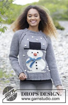 Jumper with raglan and snowman, worked top down. Sizes S - XXXL. The piece is worked in DROPS Eskimo.