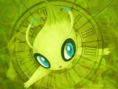 """Celebi the Time Travel Pokemon. """"This Pokémon wanders across time. Grass and trees flourish in the forests in which it has appeared."""" - Gold Pokedex Entry #Pokemon #Celebi"""