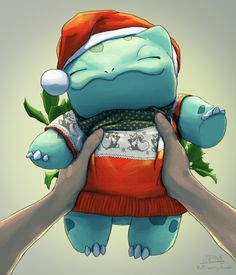 Little bulbasaur, ready for Christmas! Pokemon Fan Art, Pokemon Go, Pokemon Life, Pokemon Memes, Pokemon Fusion, Pokemon Cards, Pokemon Bulbasaur, Giratina Pokemon, Anime Shows