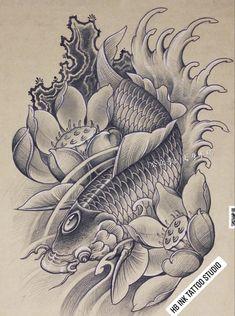 Japanese Koi Fish Tattoo, Japanese Dragon Tattoos, Japanese Tattoo Designs, Koi Tattoo Design, Clock Tattoo Design, Asian Tattoos, Fish Tattoos, Samurai Warrior Tattoo, Koi Fish Designs