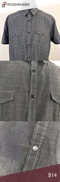 Drill Clothing Company Men's S/S Button Down Large Drill Clothing Company  Short Sleeve Button Down Shirt, Dark Gray Size:  Men's Large Almost New.  Only Worn Once.  Nice Shirt! Drill Clothing Company Shirts Casual Button Down Shirts