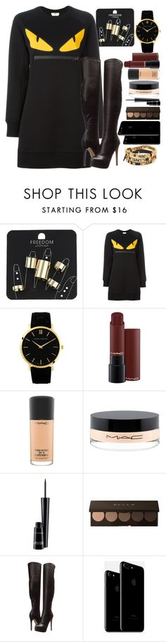 """Untitled #1153"" by natalia-viana-gtl ❤ liked on Polyvore featuring Topshop, Fendi, MAC Cosmetics, Chinese Laundry and Moschino"
