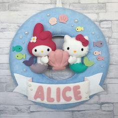 Enfeite de porta - Sereias Hello Kitty e My Melody #hellokitty #mymelody #sereias #mermaid
