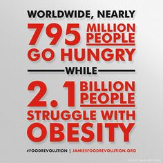 Food Revolution - World Hunger vs. Obesity - Join Jamie Oliver's Food Revolution here: http://www.jamiesfoodrevolution.org/