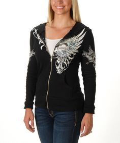Look what I found on #zulily! Liberty Wear Black & White Blue Rose Zip-Up Hoodie - Women & Plus by Liberty Wear #zulilyfinds