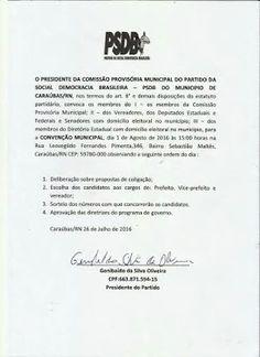 RN POLITICA EM DIA: CARAÚBAS: PSDB REALIZA CONVENÇÃO DIA 1º.
