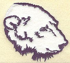Polar bear head side view applique | Applique Machine Embroidery Design or Pattern