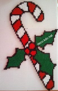 Christmas Candy Cane hama perler beads by deco. Melty Bead Patterns, Pearler Bead Patterns, Perler Patterns, Beading Patterns, Perler Bead Designs, Diy Perler Beads, Christmas Perler Beads, Christmas Cross, Christmas Candy