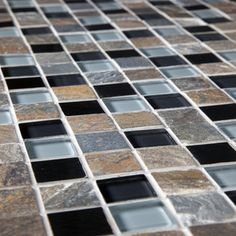 Somertile Basilica 1-inch Alloy Charcoal Stone and Glass Mosaic Tiles (Pack of 10) | Overstock.com