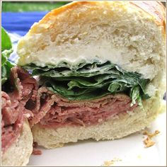 Salami, pastrami, spinach, and cream cheese makes an absolutely delicious sandwich!