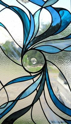 Blue swirl stained glass