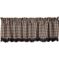 Navy Check Scalloped Valance Layered Lined 16x72