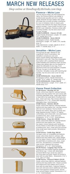 Miche March New Releases - Vienna Travel Collection, Florence & Versailles Luxe Shells.