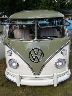 Green Volkswagen VW Split Window Bus ☮  #VWBus ☮   re-pinned by http://www.wfpblogs.com/category/southfloridah2o