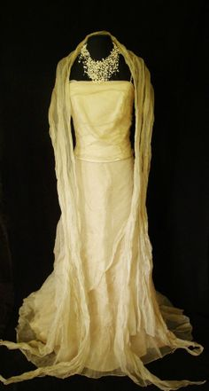 LINEA RAFAELLI very pale gold shimmer Maxi Skirt, Top and long Wrap, size 40 UK10/12