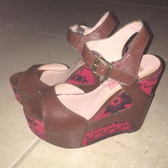 Betsey Johnson Wedges I get so many compliments when I wear these shoes. Super cute! Can pair with outfits for dressing up or down. Color: Red/Burgundy Betsey Johnson Shoes Wedges