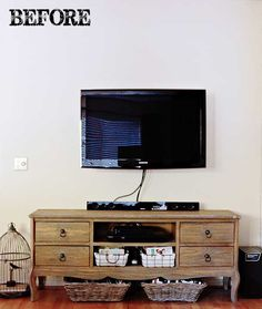 TibditsAndTwine.com -- the 'before' shot. TV Gallery Wall Reveal {From Drab to Fab!}