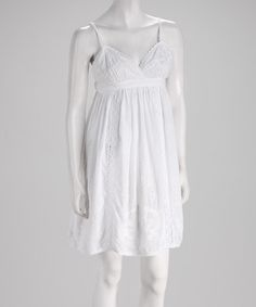 Take a look at this White Cotton Surplice Dress by Papillon Imports on #zulily today!