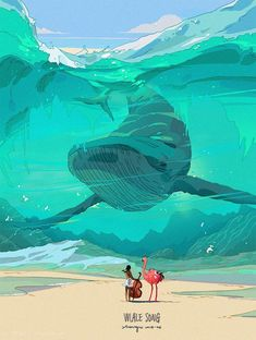 12 01 2018 1 Whale Song A Sheer Blue-Green Wave Humpback Whale Ostrich Gawker Guitar Player Art by Xi Zhang Wallpaper Whale, Animal Wallpaper, Bel Art, Whale Song, Pinturas Disney, Avatar The Last Airbender Art, Poster Drawing, Life Is Tough, Wale
