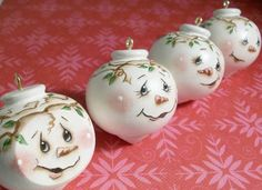 Handpainted Christmas Ornaments, Round Snowman Faces. $7.00, via Etsy.