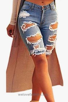 Dokotoo Womens Casual Denim Destroyed Bermuda Shorts Jeans X-Large Blue  BUY NOW     $59.99    Need the perfect shorts? Here you have them now. Spice up your look with these destroyed bermudas! Denim shorts with a destroyed front and cuff hem. Four pockets, wit ..