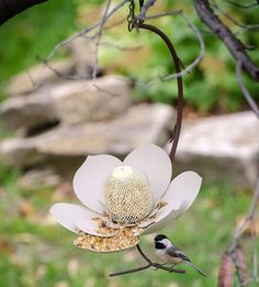 This flowery perch is pretty convincing, even if it is for the birds. Steel magnolia bird feeder by @desertsteel. #makermade
