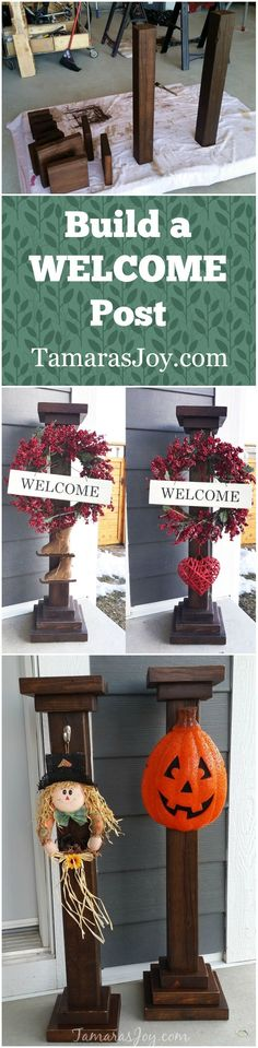 DIY Welcome Post to Seasonally Decorate is part of Diy woodworking - Build your own Welcome post to give your front entryway some easy seasonal decor! This DIY Welcome Post is a project easily completed in an afternoon! Woodworking Projects That Sell, Woodworking Projects Diy, Diy Wood Projects, Teds Woodworking, Popular Woodworking, Woodworking Furniture, Custom Woodworking, 4x4 Wood Crafts, Outdoor Wood Projects