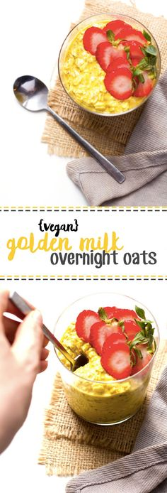 Golden Milk Overnight Oats from Healthy Helper...These Golden Milk Overnight Oats are hearty and filling! In addition to being vegan and gluten-free, they're packed with health benefits thanks to turmeric. The blend of spices give these oats a comforting, bold, and earthy flavor that's irresistible!