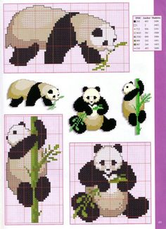 Pandas Point de croix panda