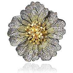 Diamond and Fancy Multi Colored Stones 18k Two Tone Gold Brooch Pin | Sims Fine Jewelry - The Source for Rings, Necklaces, Earrings, Diamonds, Jewelry and Accessories