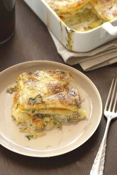 squash and spinach lasagne.