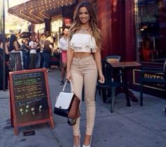 beige nude jeans high waisted skinny top pants