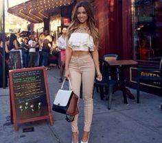 beige nude jeans high waisted skinny top pants