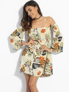 Mandarin Sleeve Off Shoulder Dacron Floral Shift Dress