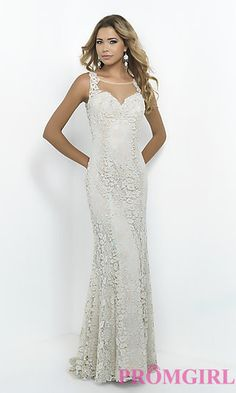Lace Embroidered Blush Prom Dress at PromGirl.com