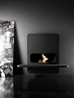 beautiful minimalistic design fireplace Wall B