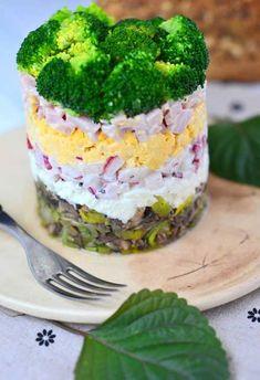 Sałatka warstwowa z brokułem Coleslaw, Mashed Potatoes, Salads, Cheesecake, Menu, Sweets, Ethnic Recipes, Desserts, Food