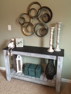 Rustic Console Table, Distressed Sofa Table, Hand Painted EntryTable, TV Stand, Country Side Table, Buffet Server