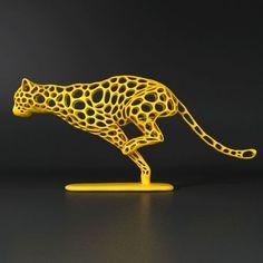 Cheetah Voronoi Wireframe 3D Model 3D printable by FormByte
