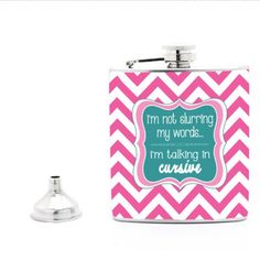 Funny Flask in Pink Chevron