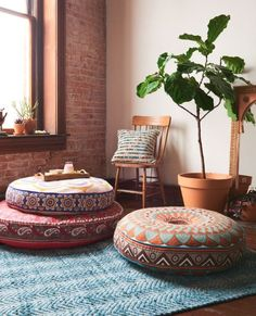 Ganesham Handicrafts- Round Mandala Pillow Throw, Living Room Decor, Boho Decor, Hippie Round Seating Pouf Ottoman, Mandala Floor Pillows With Pom Pom Border made with Indian Hippie BohemianTapestry Meditation Room Decor, Meditation Corner, Meditation Cushion, Meditation Space, Yoga Meditation, Yoga Room Decor, Yoga Bedroom, Large Floor Pillows, Floor Cushions