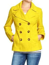 Womens Twill Peacoats in Lemon Rind yellow coat for the fall that isn't a raincoat Hooded Raincoat, Dog Raincoat, Yellow Coat, Yellow Raincoat, Raincoats For Women, Jackets For Women, Clothes For Women, Cheap Raincoats, Coats