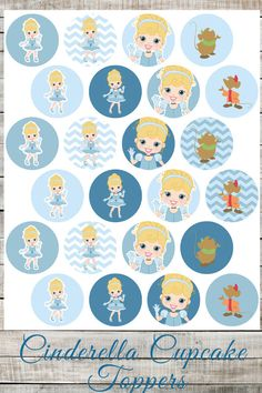 DIY Printable Disney Cinderella Cupcake Toppers, Girls Birthday Party Supplies, Princess Party Cupcake Toppers