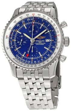 men watches Breitling Men's BTA2432212-C561SS Navitimer World Chronograph Watch Top watchesBreitling