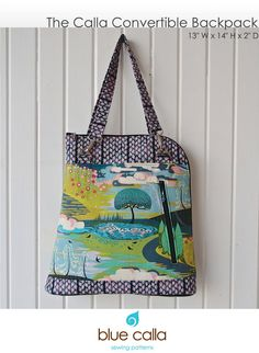 The Calla Convertible backpack - PDF Sewing Pattern NEW! off Introductory Price Purse Patterns, Pdf Sewing Patterns, Calla, Backpack Pattern, Convertible Backpack, Fabric Bags, Small Bags, Handmade Bags, Bag Making